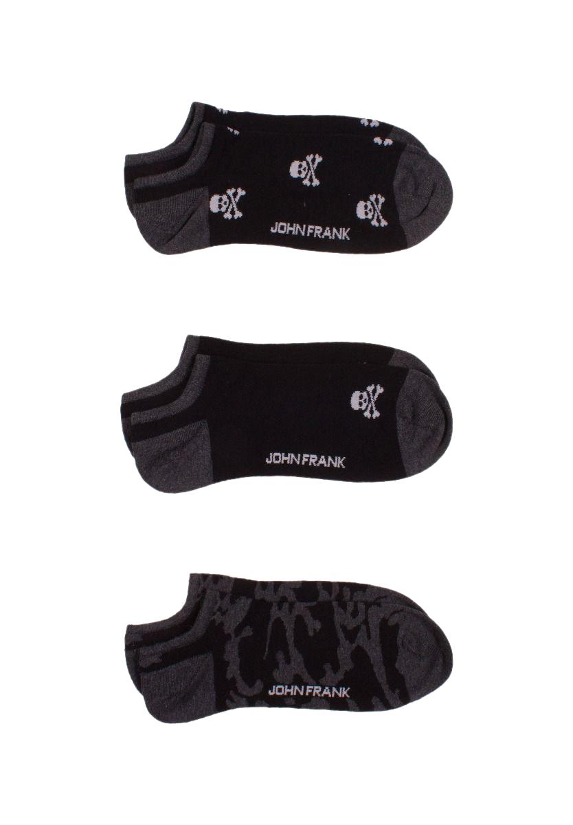 Κάλτσες John Frank 3pack - JF3SSMC19S43 Μαύρο Γκρι