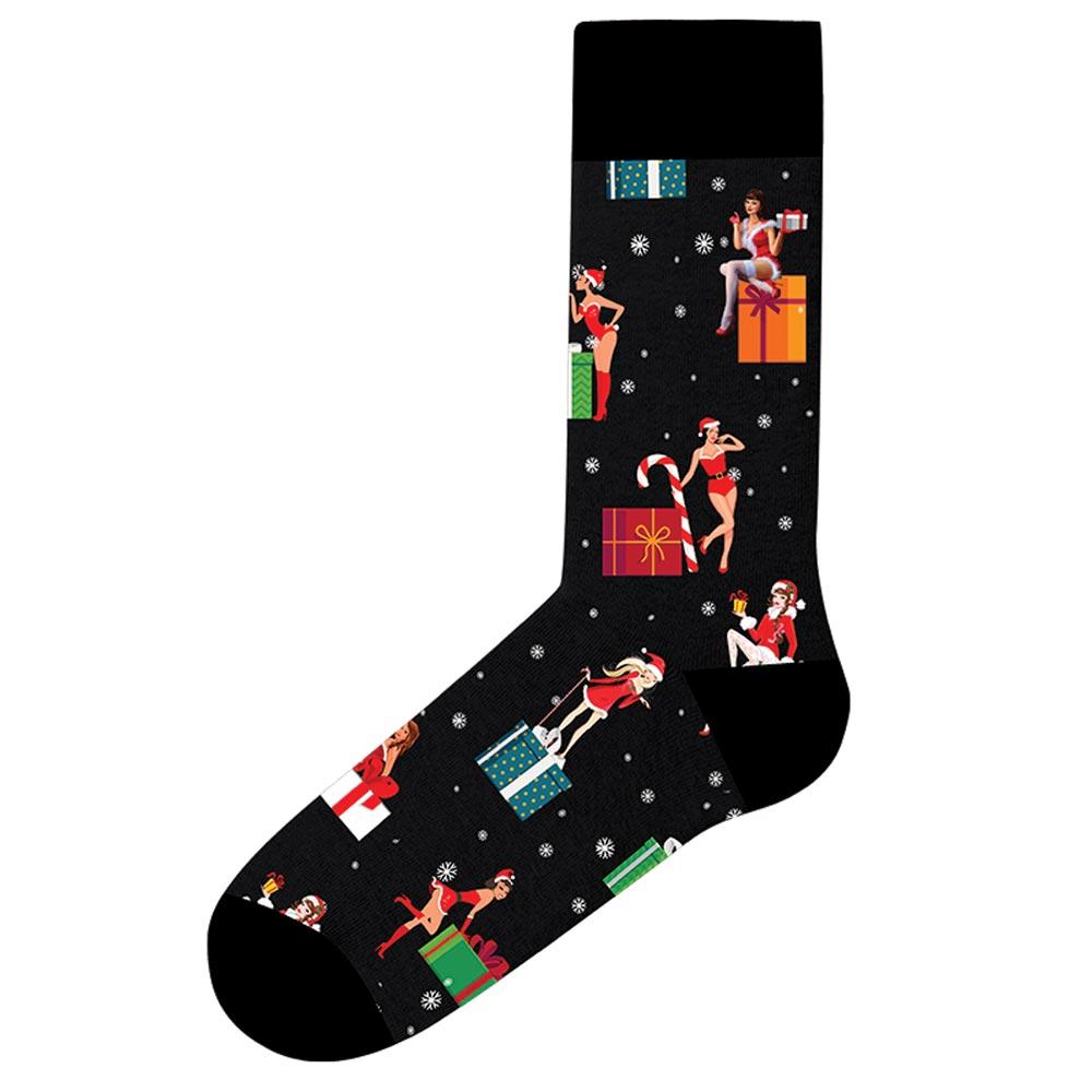 Ανδρική κάλτσα CHRISTMAS GIRL John Frank JFLSFUN-CH03 - Μαύρες