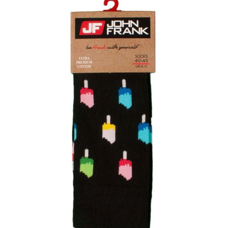 Ανδρική κάλτσα John Frank ICE CREAM - JFLSFUN55 - Μαύρο