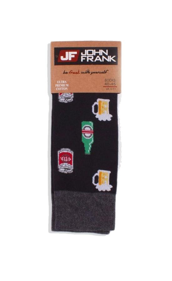Ανδρική κάλτσα John Frank BEER - JFLSF19W39 - Μαύρη