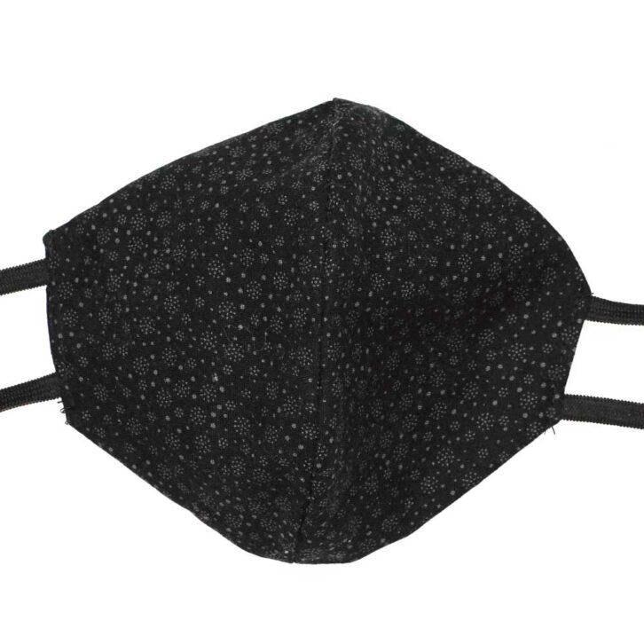 Βαμβακερή Μάσκα Προσώπου Πολλαπλών Χρήσεων - Black Design - Μαύρη