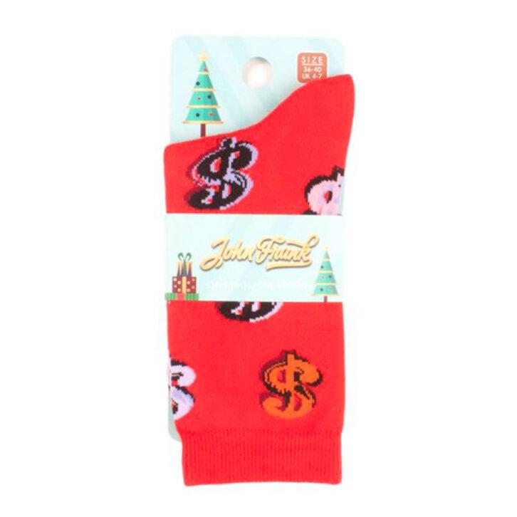 Γυναικεία κάλτσα John Frank Dollars  WJFLSFUN-CH13  Κόκκινο