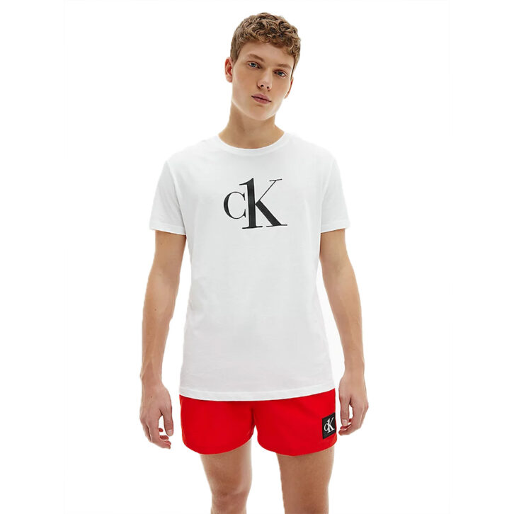 Ανδρικό T-shirt παραλίας Calvin Klein- KM0KM00646-YCD Λευκό