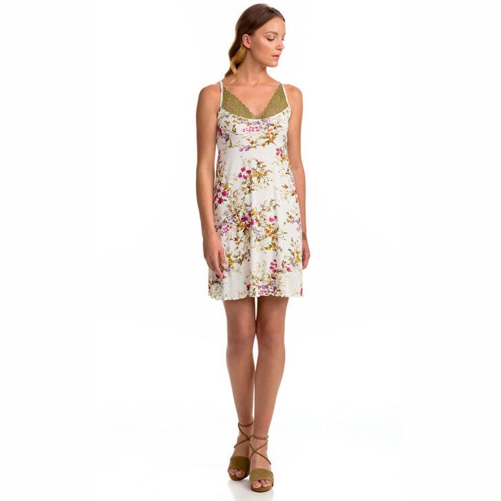 Γυναικείο Floral Νυχτικό Vamp με Τιράντα Αυξομείωσης 14124 Πολύχρωμο