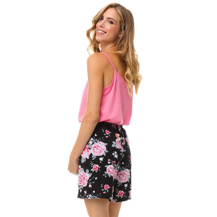 Γυναικείο Floral Σορτς Πυτζάμας Minerva 51975-639 Μαύρο Ροζ