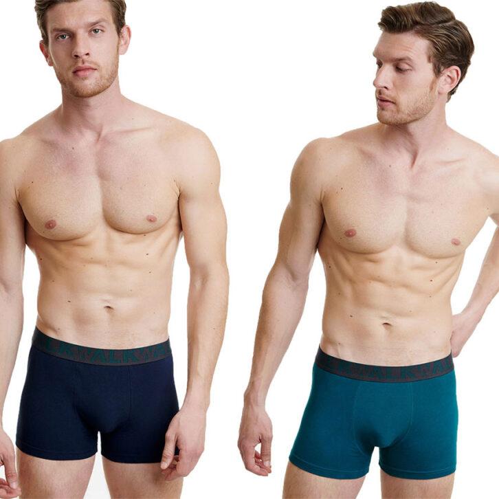 Ανδρικό Boxer Cotton-Stretch Walk 2pack W1755-1-0387 Μπλε Σκούρο-Πετρόλ