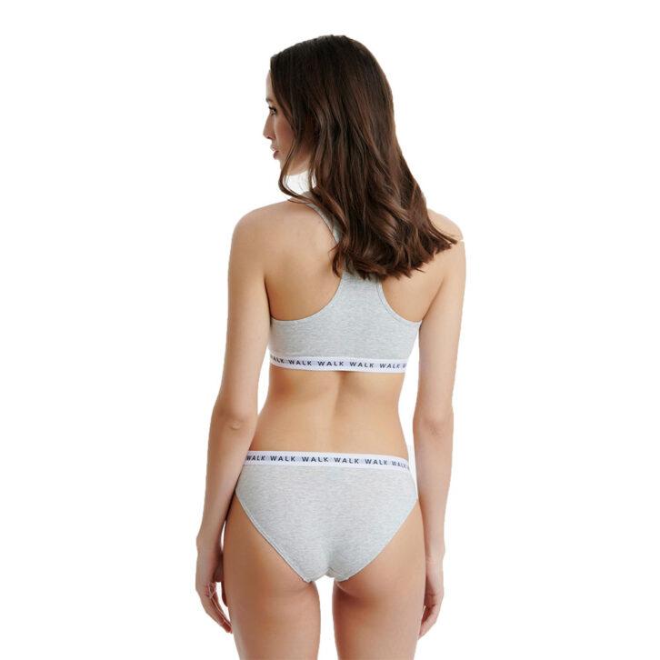 Γυναικείο Βαμβακερό Slip Με Λάστιχο Walk 2pack W2050-1409 Γκρι Ανοικτό Μελ.-Ανθρακί Μελ.