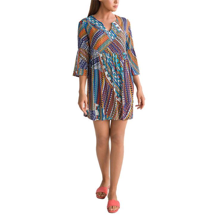 Γυναικείο Εμπριμέ Φόρεμα Θαλάσσης Vamp 00-10-5900-438 Πολύχρωμο