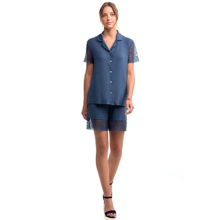Γυναικεία Καλοκαιρινή Πυτζάμα με Δαντέλα Vamp 14168 Μπλε