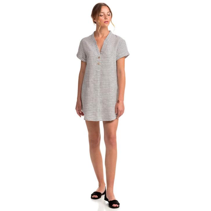 Γυναικείο Λινό Φόρεμα Θαλάσσης Vamp 14473 Μπεζ