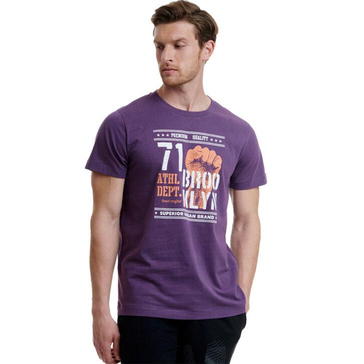 Ανδρικό T-Shirt με Τύπωμα Walk W5200-5-39 Μωβ