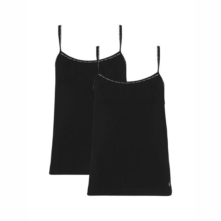 Γυναικείο Φανελάκι με Τιράντα Calvin Klein 2pack 000QS6440E-001 Μαύρο