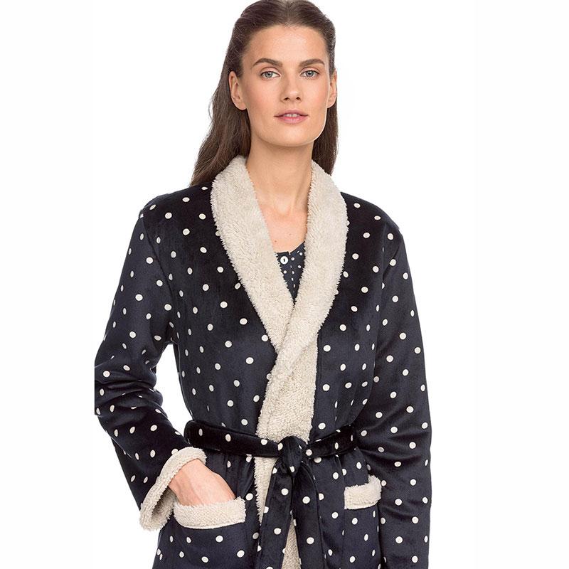 Γυναικεία Fleece Σταυρωτή Ρόμπα Vamp 15157 Μπλε Σκούρο