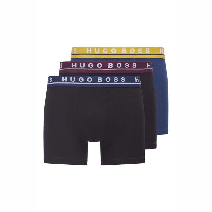 Ανδρικό Boxer Cotton Stretch HUGO BOSS 3-pack 50458544-967 Μαύρο Μπλε