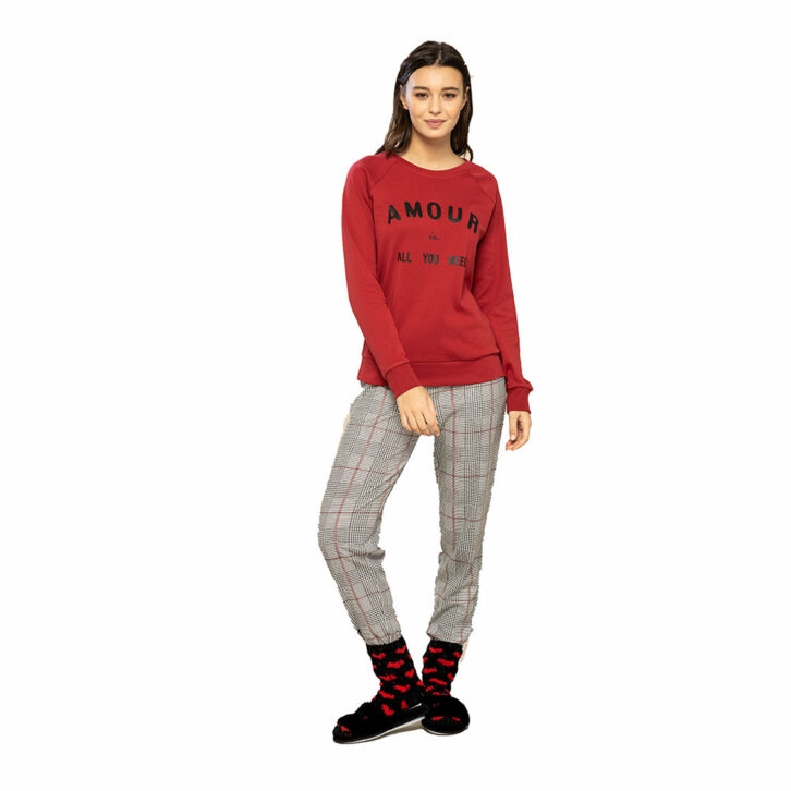 Γυναικεία Πυτζάμα Noidinotte FA7484PB Κόκκινο Γκρι