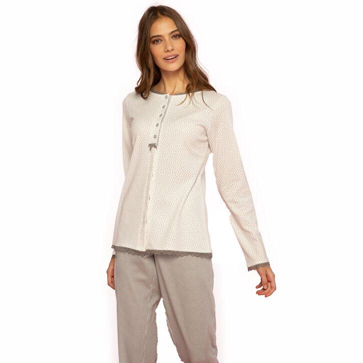 Γυναικεία Πυτζάμα Noidinotte FA7493PB Λευκό Γκρι